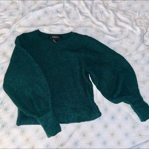 Dark Green Knit Puffy Sleeve Sweater